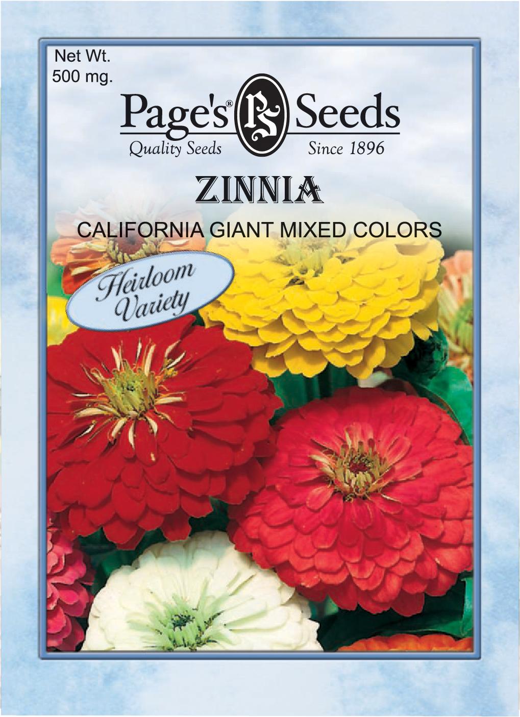 Zinnia, California Giant Mix | The Page Seed Company, Inc